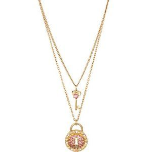 *NEW*Betsey Johnson Lock Necklace double strand